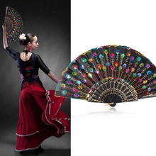Lace Sequins Feather Embroidered 1Pcs Party Decor Folding fan Wedding Dancing(China)
