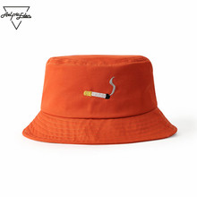 Aelfric Eden Korean Rock Version Men Fashion Bucket Hats Cap Orange Spring Summer Cap Leisure Embroidery Hat Tide SNL603(China)