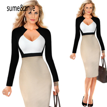 Buy new 2017 summer women 's deep V neck collar color fashion sexy dress female Work Office Business Sheath Dress party dresses for $16.18 in AliExpress store
