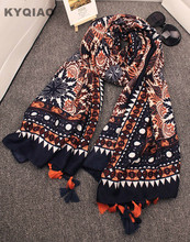Ethnic print scarf luxury brand hijab scarf 2017 women autumn winter Spain style bohemian hippie tribe print tassels scarf(China)