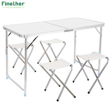Finether Portable Ultralight Height-Adjustable Aluminum Table Folding Outdoor Table Stool Set for Dining Picnic Camping BBQ