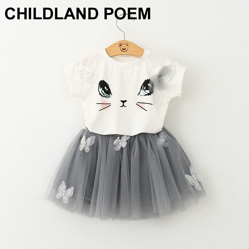 Girls Clothing Sets Summer Fashion Cartoon hello kitty Printed T-Shirts+Net Veil Dress 2Pcs Girls Clothes Sets vetement fille<br><br>Aliexpress