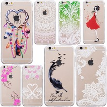 Slim Silicone TPU Clear Case Henna White Paisley Mandala Flowers Pattern Soft Back Cover For iPhone 7 7plus 5 5S SE 6 6s Plus