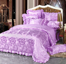 Korean style 4/6pcs Luxury Silk cotton satin Jacquard Bedclothes Bedding set Wedding Noble Palace Bed set Cotton bed linen queen(China)