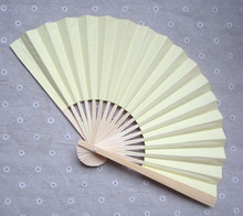 [I AM YOUR FANS] Free Shipping 150pcs/lot 23CM L Double side Light Yellow Chinese Paper fan, wedding fan, 11colors for choice