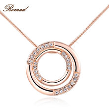2017 Romad Brand Classic Necklace for Women Double Circle Pendant Women Necklace Rose Gold Color Chain Mother's Day Gift(China)