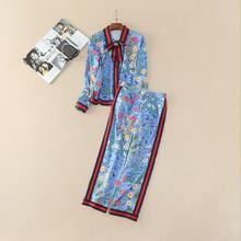 Europe and the United States women's new spring 2017 Printing long sleeve shirt + 7 minutes of pants suit + diamond brooch(China)