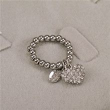 Cute girl concise silver diamante rhinestone Heart Pendant Adjustable elastic finger Wholesale Rings Women Party alloy jewelry(China)