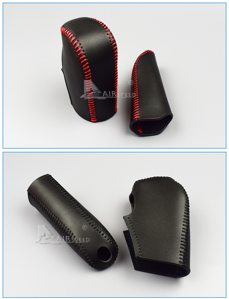 Leather Car Gear Shift Lever Cover Handbrake Grips Sleeve for BMW E60 E90 X3 X5 Z4 6 Series Accessories Car Styling (5)