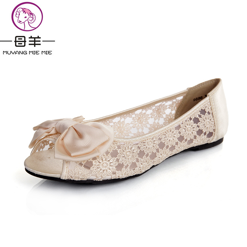 MUYANG Chinese Brand Women Sandals 2017 Fashion Women Lace Gauze Bow Open Toe Shoes Woman Comfortable Flat Sandals Women Sandals<br>