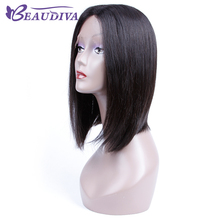 Beaudiva Lace Front Human Hair Wigs For Black Women Straight Full End Malaysian Virgin Hair Short Bob Wig Middle Part(China)