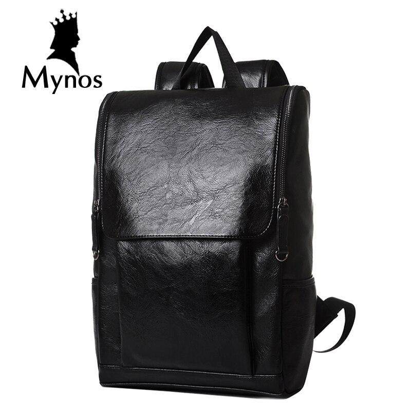 MYNOS New Fashion Men Backpack High Quality Leather Big Capacity Laptop Travel Backpack For Men Black Waterproof Leathe Male Bag<br>