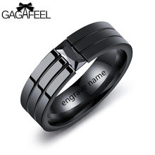 Gagafeel Vintage Engraving Customized Logo Rings For Men Jewelry Stainless Steel Crystal Zircon Black Rock Style Wedding Ring(China)
