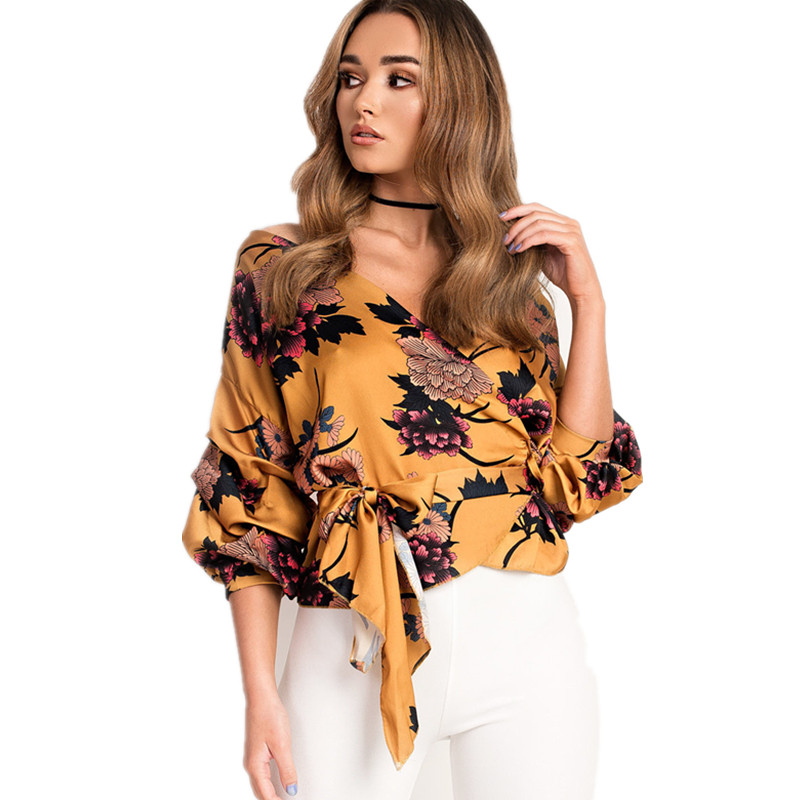 LOSSKY Women V-Neck Sexy Boho Blouse Print Floral Bandages Long Sleeve Blouse Bohemia Ladies Top Shirts Blouses Summer 2018 3
