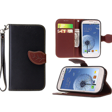 Deluxe Litchi Leaves Wallet Leather Flip TPU Soft Case for Samsung Galaxy S3 i9300 SIII 9300 Phone Bags Cases Hit Color Design
