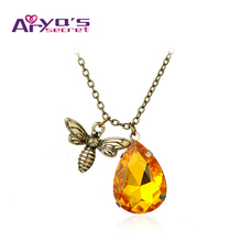 Bee Honey Insect Vintage Ladies Love Long Fashion Necklace With Pendants Part Chokers Necklaces For Women Jewelry Ethnic 2017(China)