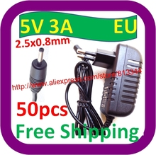 50 pcs Free Shipping 5V 3A 2.5mm power adapter charger for Ainol novo 9 Hero II Spark Firewire quad tablet pc sanei n10 3g