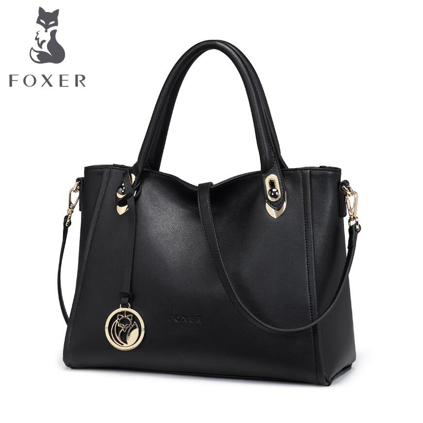 FOXER  New women genuine leather bag designers brands fashion women leather tote Leisure shoulder  bag<br><br>Aliexpress