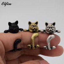 Elfin Wholesale 2017 Vintage Adjustable Garfield Cat Ring Men Fashionable Cute Jewellery Rings For Women Anillos Mujer Warcraft(China)