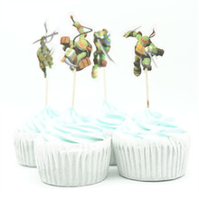 24pcs Cartoon Ninja Turtles candy bar cupcake topper pick fruit picks baby shower kids birthday party decoration supplly(China)