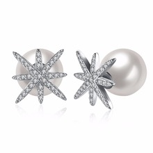Inlay white Pearl Stud Earrings Zircon snowflakes Crystal Double Side Earrings For Women Ladies Female Fashion Jewelry