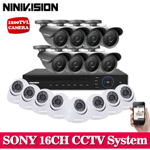 Home 16 Channel AHD 1080N cctv dvr recording with 16pcs Sony 720P 1200tvl IR weatherproof camera dvr kit 16ch cctv system(China)