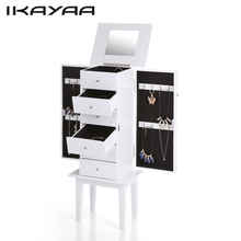 IKAYAA WO-W6118 Antique Standing Jewelry Armoire Cabinet Flip-top Mirrored Jewelry Storage Box Organizer Chest Bedroom Furniture