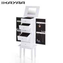 IKAYAA WO-W6118 Antique Standing Jewelry Armoire Cabinet Flip-top Mirrored Jewelry Storage Box Organizer Chest Bedroom Furniture(China)