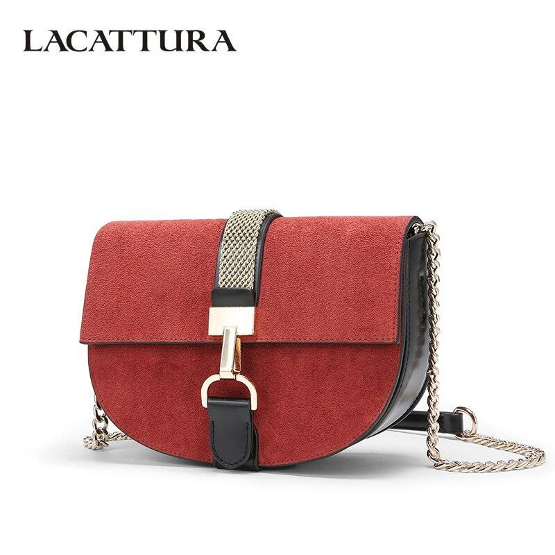 LACATTURA Luxury Handbags Women Crossbody Bags Designer Messenger Saddle Bag Retro Suede Clutch Ladies Small Shoulder Bag<br>