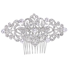 BELLA Fashion Elegant Flower Leaf Bridal Hair Comb Pin Rhinestone Austrian Crystal Wedding Hair Comb For Women Bridesmaid Party(China)