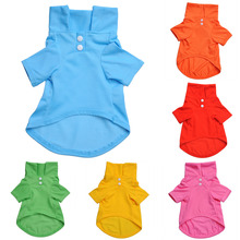 Pet Clothes Dog Solid color Polo Shirt Apparel Lapel Costume Dog Clothes T-shirt Casual Puppy Suit Cotton Clothes Cozy Shirt(China)