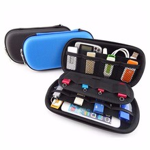 Black Blue Digital Products Storage Box USB Cable Flash Drive Case Sundries Organizer Travel Waterproof Phone Headphone Pouch