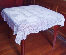"Free shipping floral lace table cloth 120*120cm(47""*47"") Square100% polyester white color"