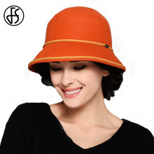 FS 100% Wool Bowler Fedora Elegant Pink Orange Wide Brim Vintage Hat Ladies Autumn Winter Fashion Felt Church Cloche Hats(China)