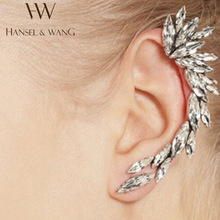 1pcs Right Ear Cuff Earrings Silver Plated Clip on Earrings Earcuff Earring Ear Cuffs for Women Girls Fashion Rhinestone Jewelry