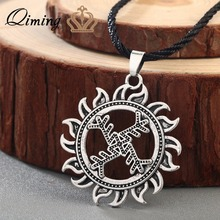 QIMING Swastika Whirling Log Good Luck Best Friend Necklace Women Symbol Gammadion Svastika Wheel of Life Viking Pendant Jewelry