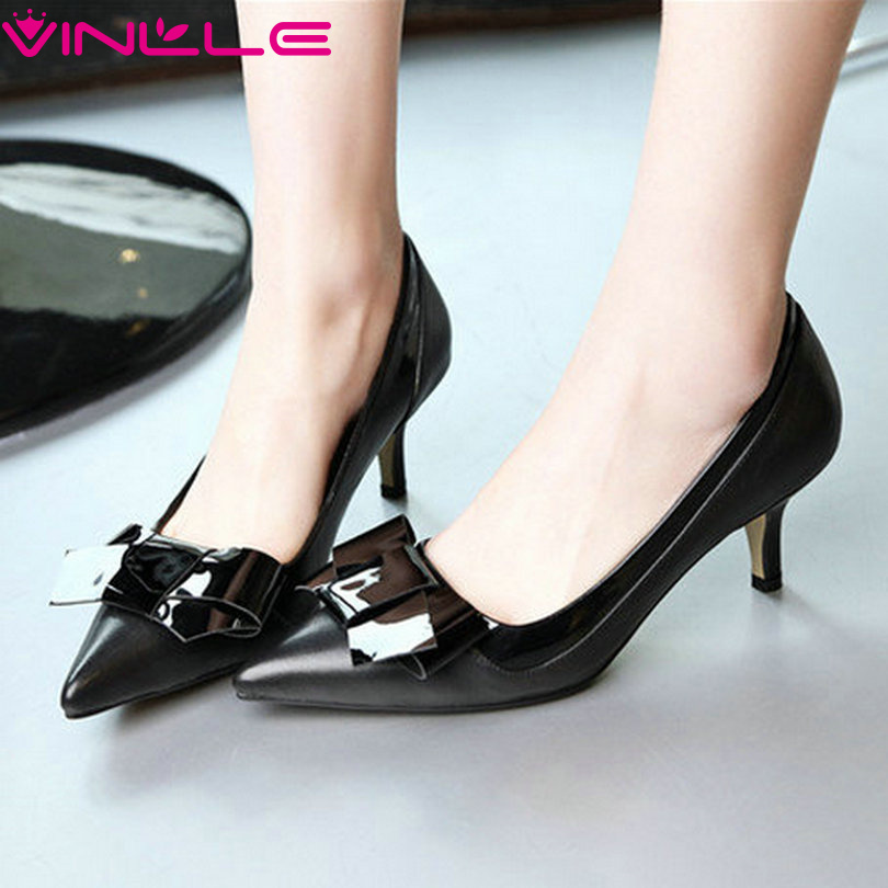 VINLLE 2017 Women Pumps Black Thin Heel High Heels Pointed Toe Shoes Woman PU Wedding Shoes Genuine Leather OL Pumps Size 34-39<br><br>Aliexpress