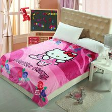 Cute Floral Hello Kitty Printed Blankets Throw Bedding 150*200CM Size Baby Girls Children's Bed Home Bedroom Decoration Flannel