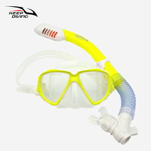 KEEP DIVING Kids Full Dry Silicone Explosion Proof Lens Diving Mask Snorkel Set Children Special Snorkeling Tube Equipment
