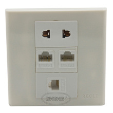 2 X RJ45, 1 X RJ11, 1 X AC power Wall plate and support customer design