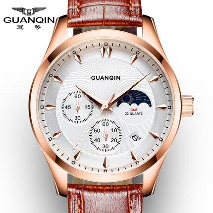 Luxury Watch Men Brand GUANQIN Men Chronograph Luminous Clock Male Sport Wristwatch Relogio Masculino Leather Strap Quartz Watch<br>