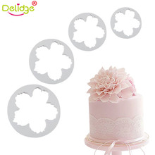 Delidge 4pcs/set Peony Cake Mold Plastic Floral Petals Cutter Flower Mold Cookie Sugar Fondant Cutter(China)