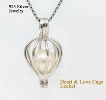 925 Silver Heart & Love Pearl/ Crystal/ Gem Beads Cage Locket, Sterling Silver Wish Pearl Pendant Mounting DIY Jewelry Charm