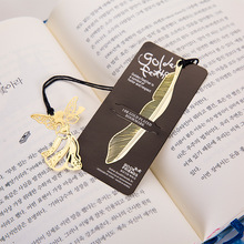 Stylish Gold Plated Hollow Animal Feather Bookmark Angel Marks Leaf Key Bookmarks Book Mark Office Supplies SQ15(China)