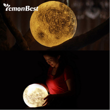 Lemonbest Rechargeable 3D Print Moon Lamp 3 Color Change Touch Switch Bedroom Bookcase Night Light Home Decor Creative Gift(China)