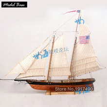 Wooden Ship Models Kits Educational Toy Model-Ship-Assembly DIY Train Hobby Wooden Ship 3d Laser Cut Scale 1/72 AMERICA 1851(China)