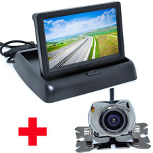 "4.3"" Color LCD Video Foldable Car Monitor Auto Parking Assistance+ Universal Night Vision backup Camera Car CCD Rear View Camera"