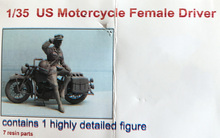 Unpainted Kit 1/35  us woman  driver talk not include  motorcycle   figure Historical WWII Figure Resin  Kit Free Shipping