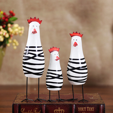 Set of 3 pieces Handmade Wooden Chicken Living Decorative Furniture Arts(China)