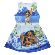 Moana Infant dresses 2017 Summer girls princess dresses kids Cartoon Print Sleeveless dress clothing 3-8 years for party wedding(China)